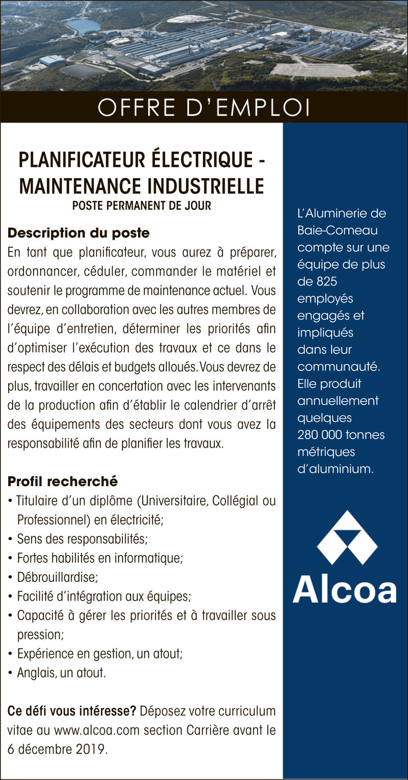 Planificateur Électrique – maintenance industrielle