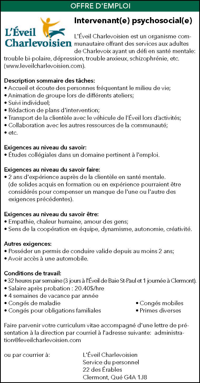 Intervenant(e) psychosocial(e)