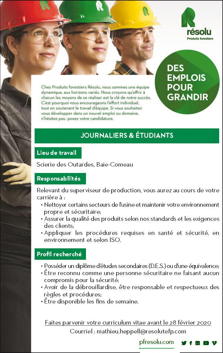 Journaliers & étudiants