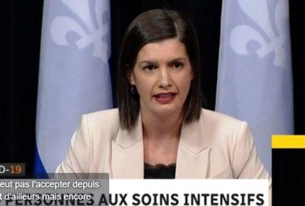 La ministre Guilbault invite les Québécois à dénoncer les rassemblements