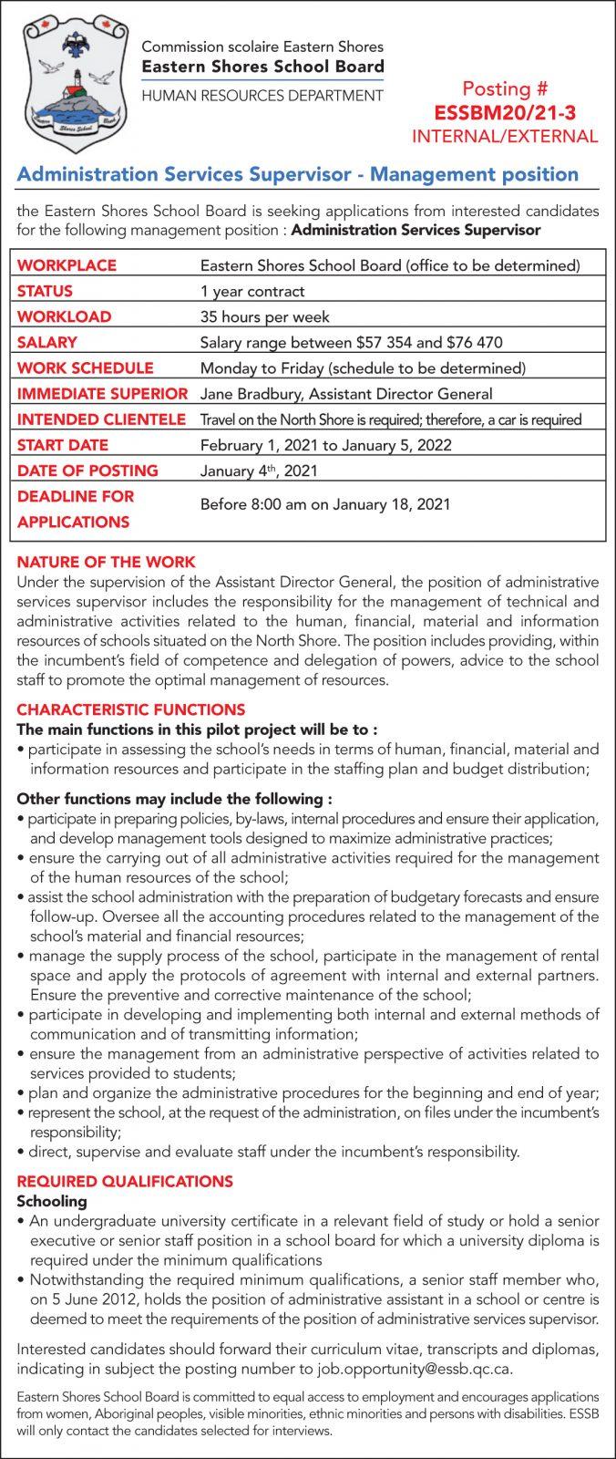Administration Services Supervisor – Management position